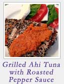Grilled Ahi Tuna w Roasted Pepper Sauce