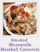 Smoked Mozzarella Meatball Casserole | 2 Cookin Mamas
