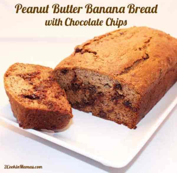 Peanut Butter Banana Bread with Chocolate Chips | 2CookinMamas