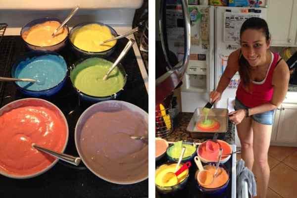 Superhero Birthday Party tie-dyed cake prep | 2 Cookin Mamas