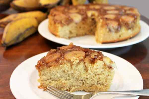 Banana Upside Down Cake slice | 2 Cookin Mamas