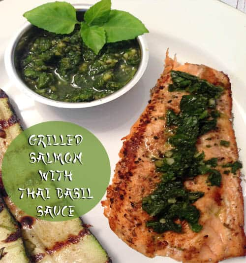 Grilled Salmon with Thai Basil Sauce | 2CookinMamas