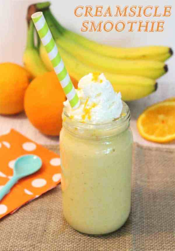 Creamsicle Smoothie pin | 2 Cookin Mamas Our creamsicle smoothie tastes like the famous ice cream pop, full of orange & vanilla flavor, & it's healthy! Packed with protein, antioxidants & Vitamin C.