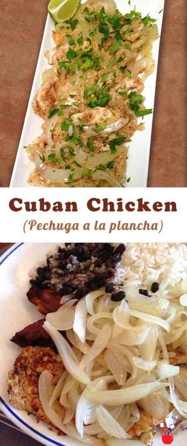 Cuban Chicken | 2 Cookin Mamas A homemade Cuban Chicken that tastes like your favorite restaurant's Pechuga a la plancha! Pan-fried chicken with lime & sauteed onions never tasted better!