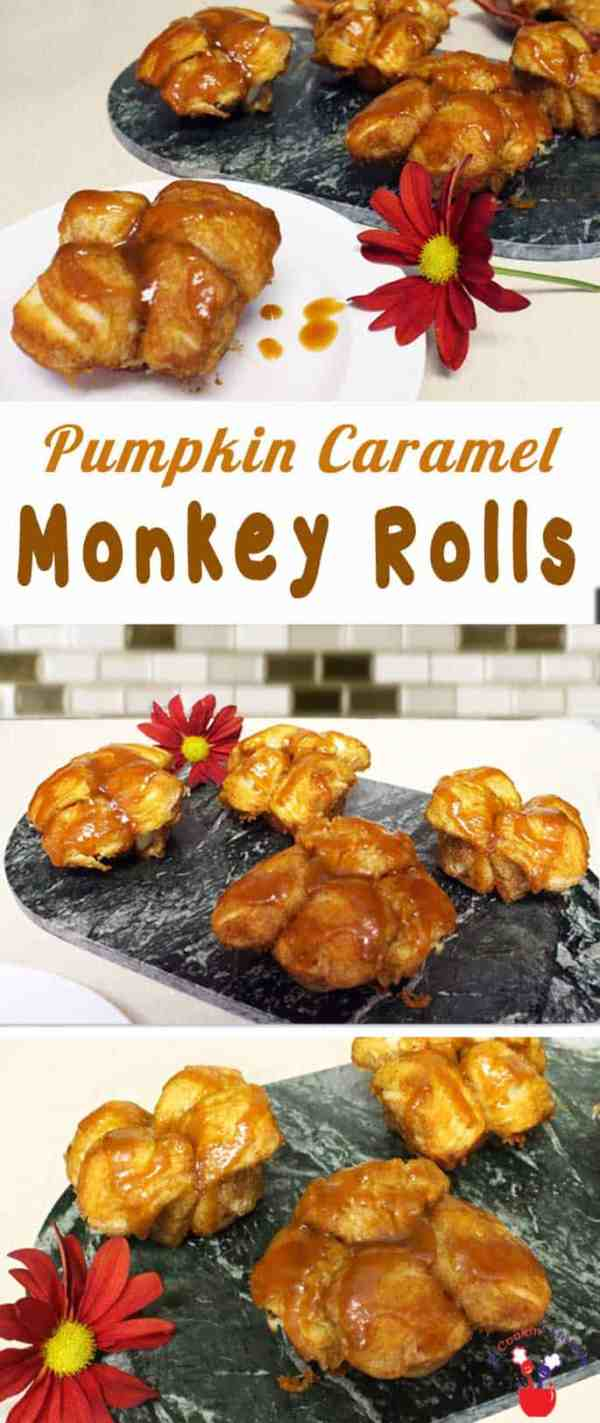 Pumpkin Caramel Monkey Rolls | 2 Cookin Mamas Monkeys and kids love to pull apart these gooey caramel monkey rolls flavored with pumpkin. They're quick and easy and a hit at breakfast every time! #recipe