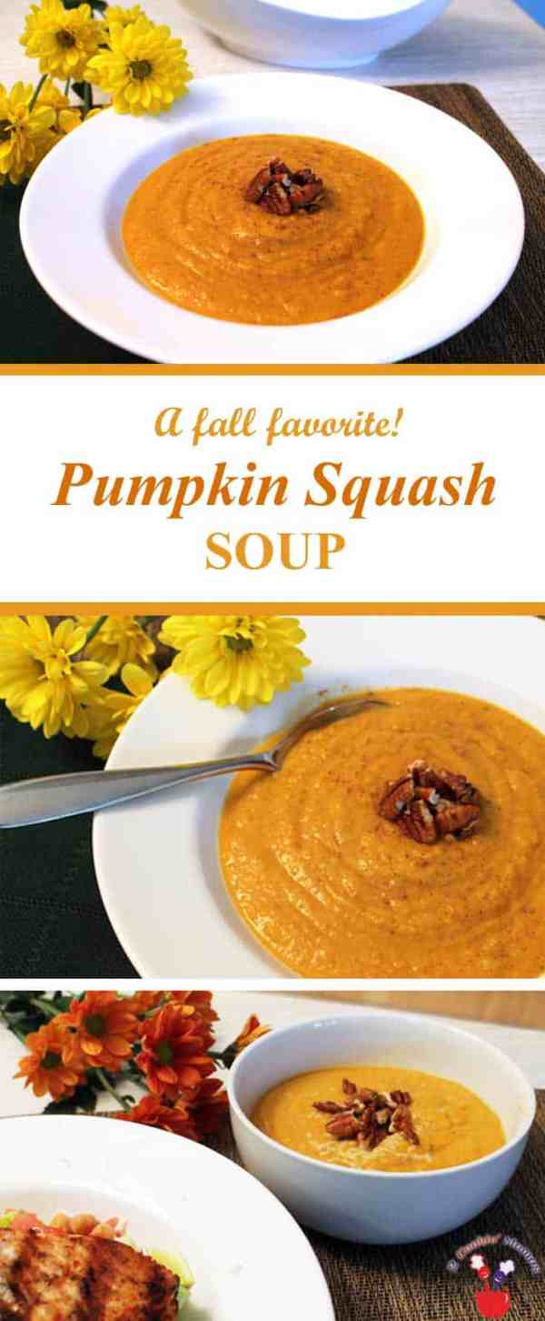 Pumpkin Squash Soup | 2 Cookin Mamas Pumpkin Squash Soup brings the aromas and feeling of fall right into your home. A combination of butternut squash, pumpkin and apple cider are spiced up with cinnamon & nutmeg that will delight the palate and warm the soul. #recipe