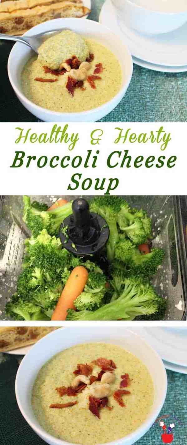 Broccoli Cheese Soup | 2 Cookin Mamas Warm up with this healthy broccoli cheese soup filled with broccoli, carrots, cashews and low-fat cheddar cheese. Perfect for cold winter days.