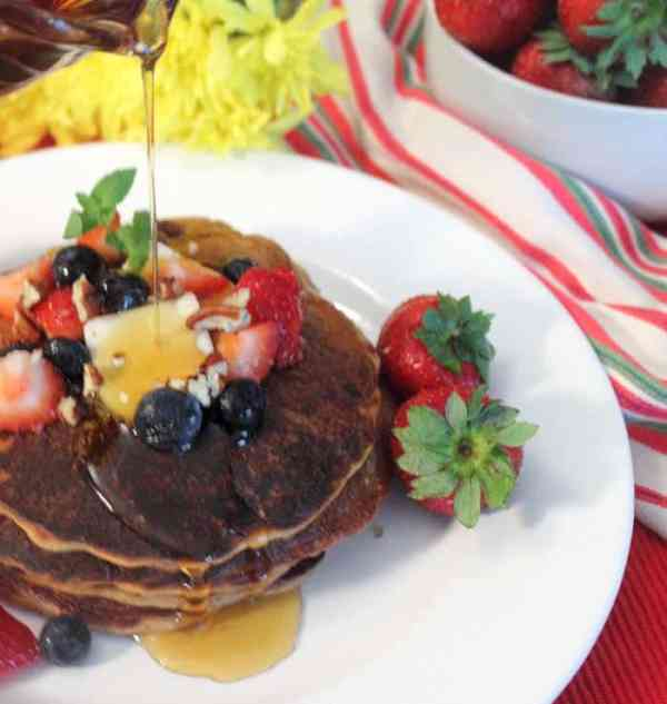 Protein Pancakes with syrup | 2 Cookin Mamas