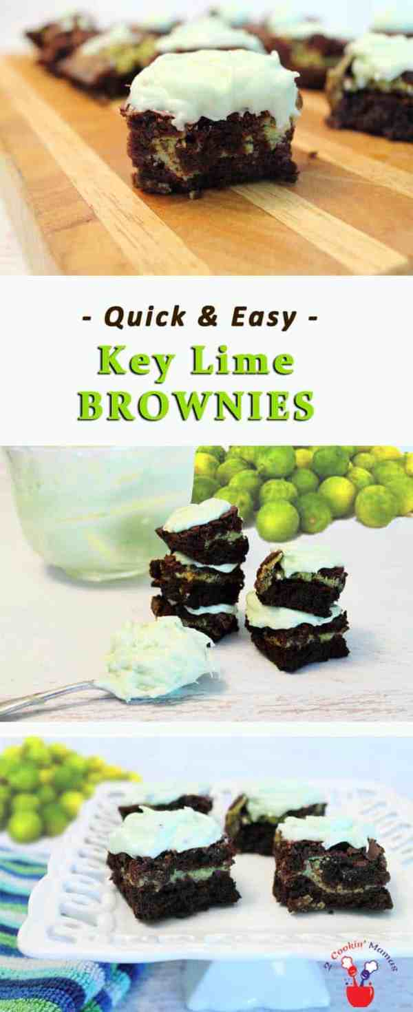 Key Lime Brownies | 2 Cookin Mamas Easy to make brownies starting with a mix and adding delicious tropical flavor with fresh key limes. #recipe #dessert