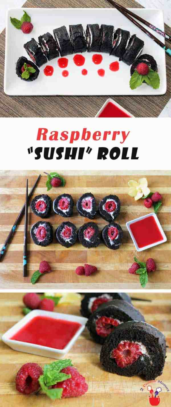 Raspberry Sushi Roll | 2 Cookin Mamas This Raspberry Sushi Roll is unlike anything you have ever had. Because it's not really sushi but a rich chocolate cake filled with cheesecake filling and raspberries. It's decadent, delicious & show-stopping!