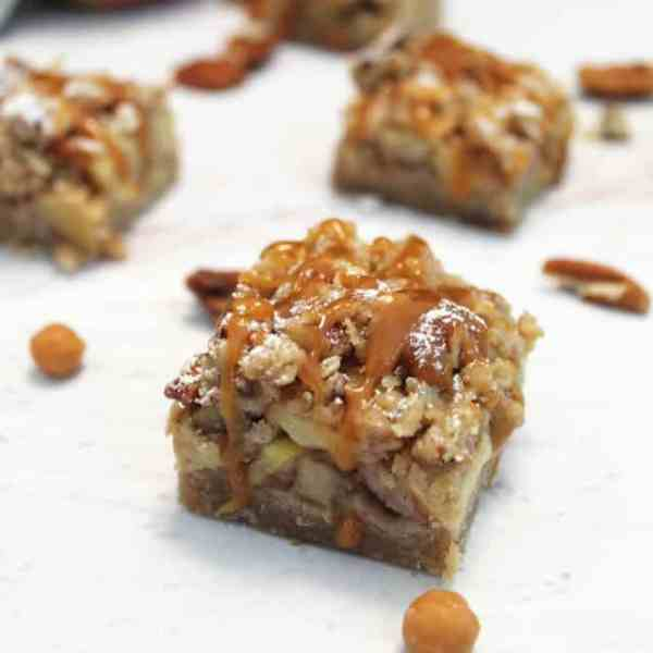 Caramel Apple Bars square|2CookinMamas