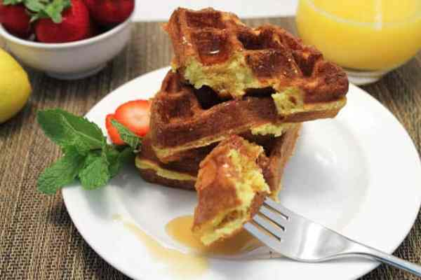 Cake Mix Waffles stacked|2CookinMamas