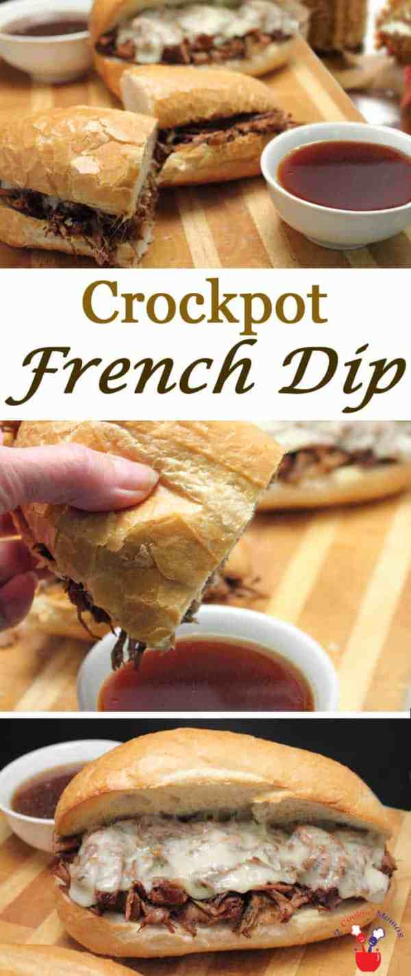 Crockpot French Dip | 2 Cookin Mamas Crockpot French Dip takes little prep and makes the most delicious, tender beefy sandwiches. Pile high on a hard roll, top with cheese then dip. #recipe
