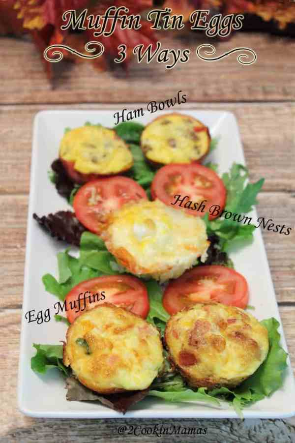 Muffin Tin Eggs 3 Ways main | 2CookinMamas - Healthy breakfast for on-the-go. Bake, freeze, brown bag it, reheat 1 minute, voila breakfast!