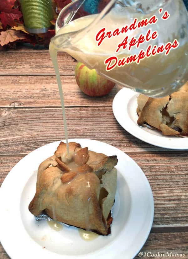 Apple Dumplings pin2 | 2CookinMamas - No one made these apple dumplings better than Grandma. Warm apples & cinnamon wrapped in a flaky crust & covered with an out of this world hot vanilla sauce.