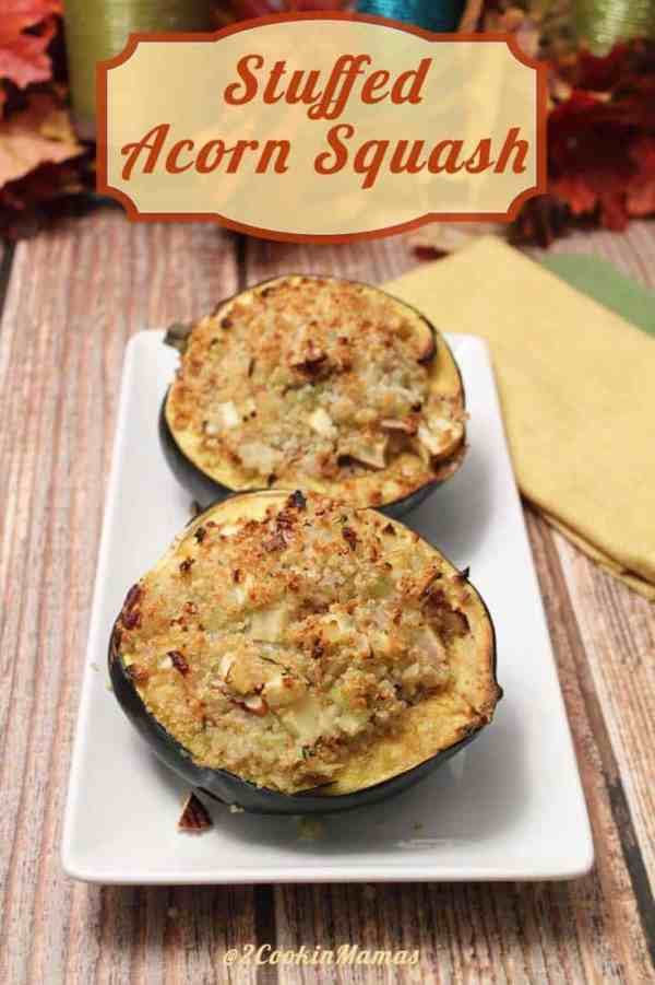 Stuffed Acorn Squash main1|2CookinMamas - the perfect accompaniment to a holiday meal. Rich with butter, mapple syrup and seasoned quinoa that tastes delicious and gluten-free too!