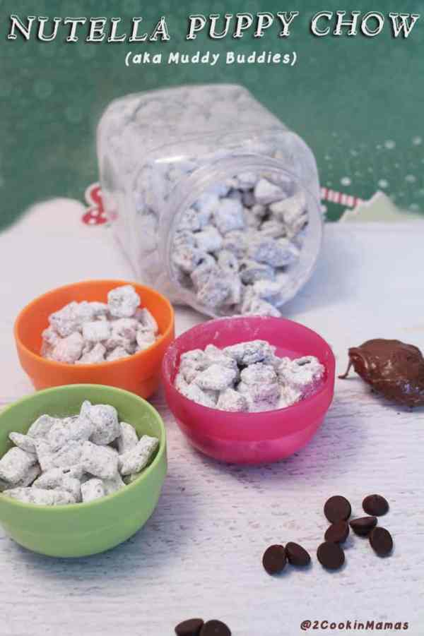 Nutella Puppy Chow | 2CookinMamas - Easy to make sweet snack, a little nutella, chocolate, rice chex and powdered sugar and you are ready to go! Addictive and delicious!