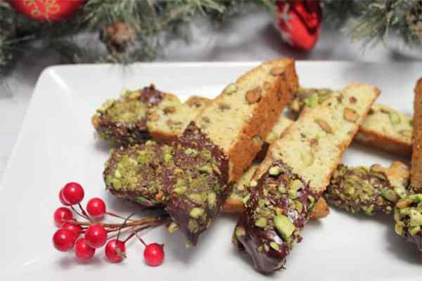 Orange Pistachio Biscotti plated|2CookinMamas