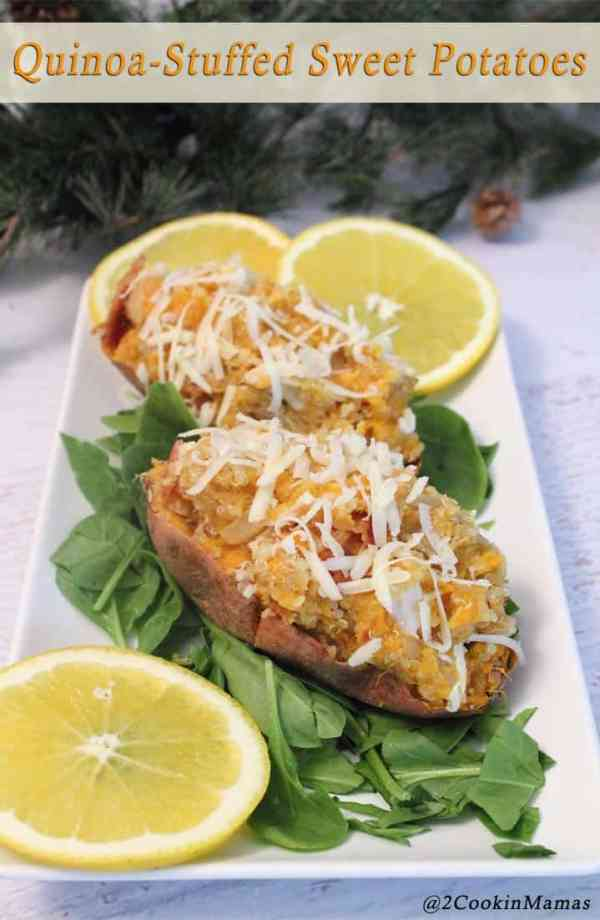Quinoa Stuffed Sweet Potatoes pin|2CookinMamas - A healthy & delicious quick meal. Just cook & stuff a sweet potato with protein rich quinoa and flavor it with maple syrup. Yum!