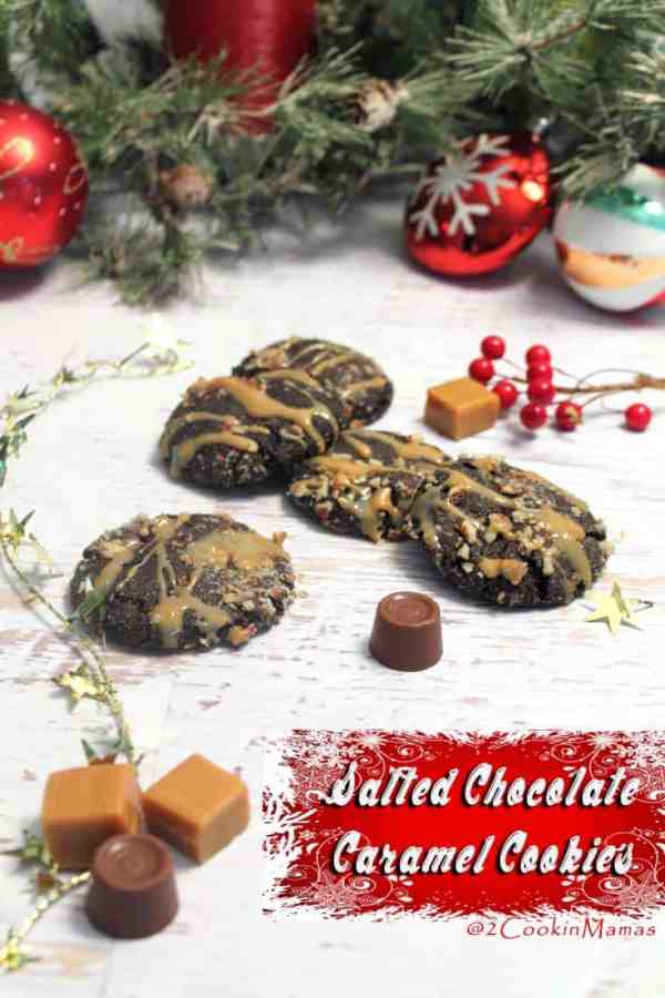 Salted Chocolate Caramel Cookies main|2CookinMamas - A rich chocolate cookie with a surprise inside. Hidden Rolos, chocolate covered caramels, are wrapped with a chocolate dough then drizzled with more caramel. Yum!