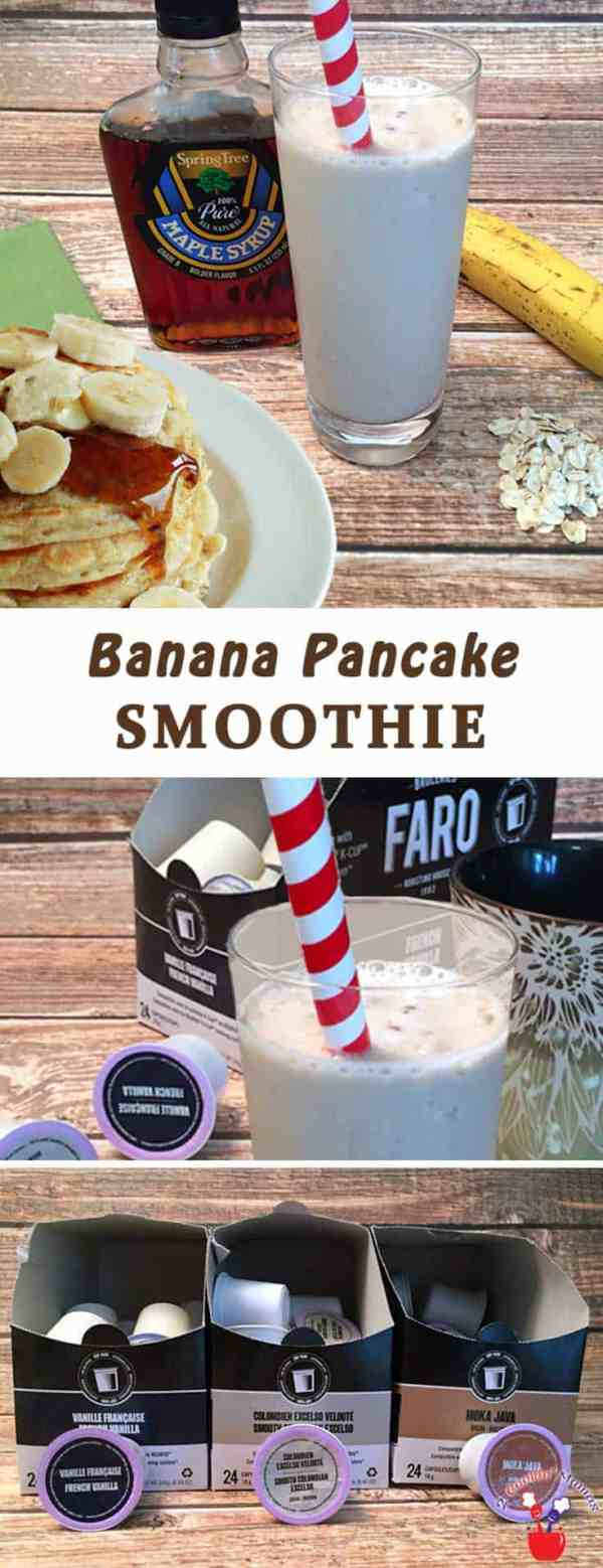 Banana Pancake Smoothie | 2 Cookin Mamas A healthy way to start the day with a smoothie that contains your morning coffee & tastes like a stack of pancakes.  Yum! #recipe