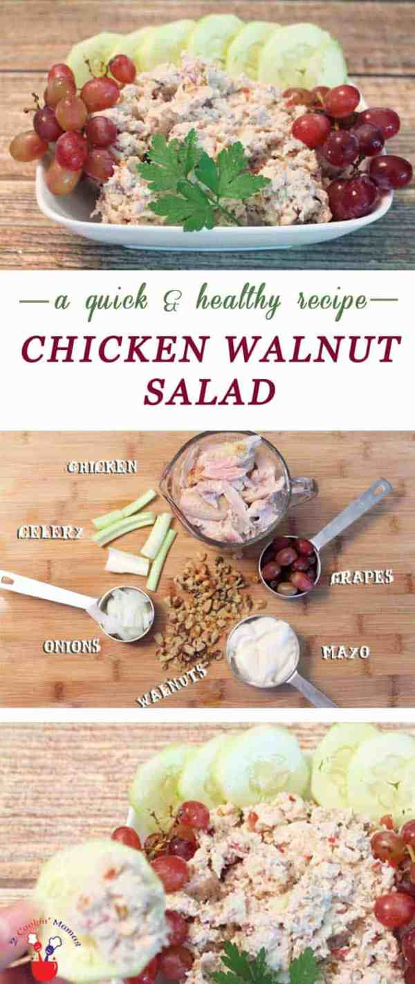 Chicken Walnut Salad main | 2 Cookin Mamas Chicken Walnut Salad is healthy & easy to make. Start with rotisserie chicken, add some crunchy nuts & sweeten it with grapes. On the table in 15 minutes.