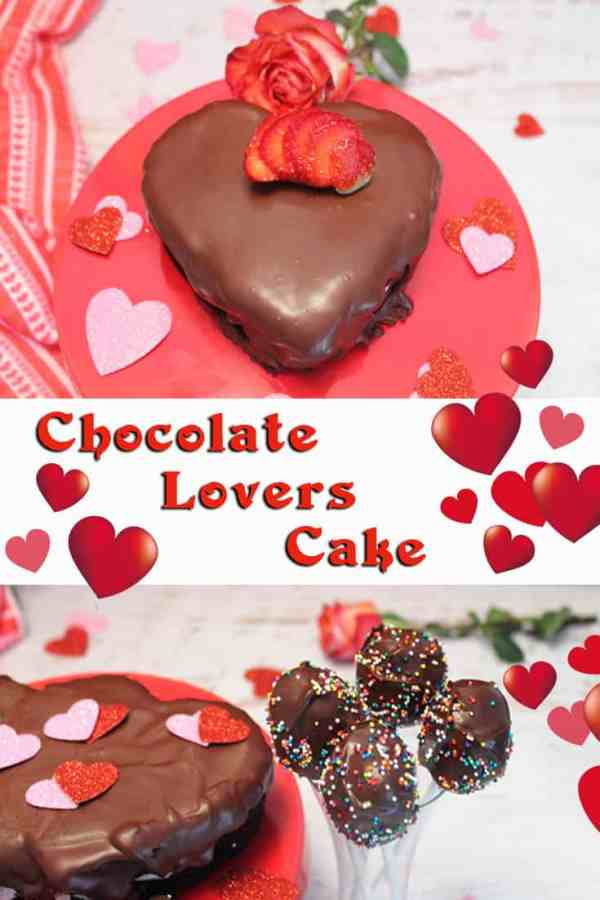 Chocolate Lovers Cake | 2CookinMamas For all the chocolate lovers & sweethearts, this cake is made with rich dark chocolate then layered with strawberry cheesecake and drenched in chocolate ganache. Leftover cake makes up some delicious cake pops too!