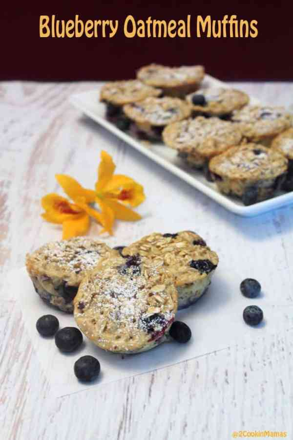 Blueberry Oatmeal Muffins | 2CookinMamas An easy to make oatmeal breakfast for on the go nutrition. Plenty of fiber, protein and antioxidants to get your day started right.