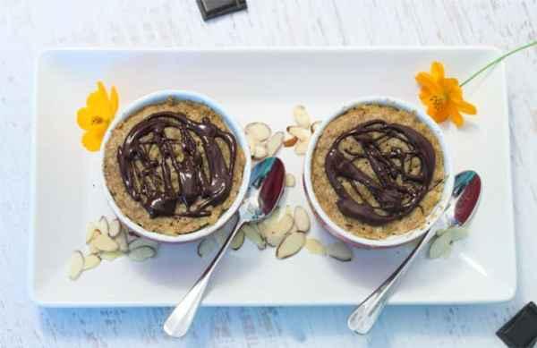 Almond Butter Mug Cake overhead | 2 Cookin Mamas