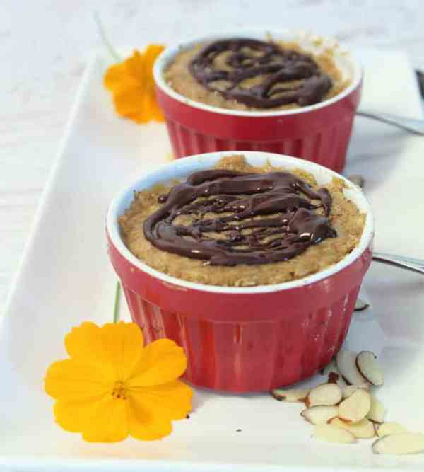 Almond Butter Mug Cake served | 2 Cookin Mamas