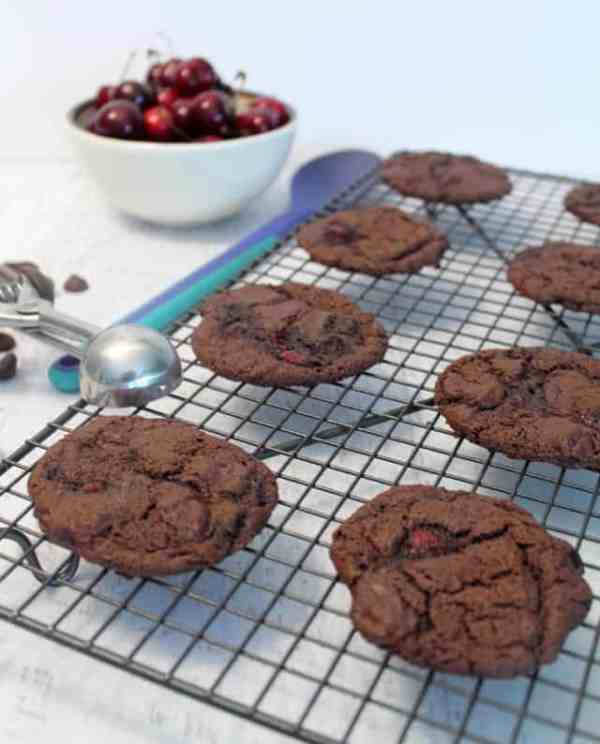 Chocolate Chocolate Cherry Cookies cooling | 2 Cookin Mamas