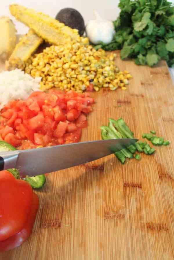 Roasted Corn Salad Cutting Vegetables | 2 Cookin Mamas