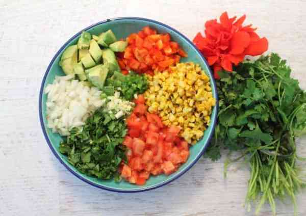 Roasted Corn Salad ingredients | 2 Cookin Mamas