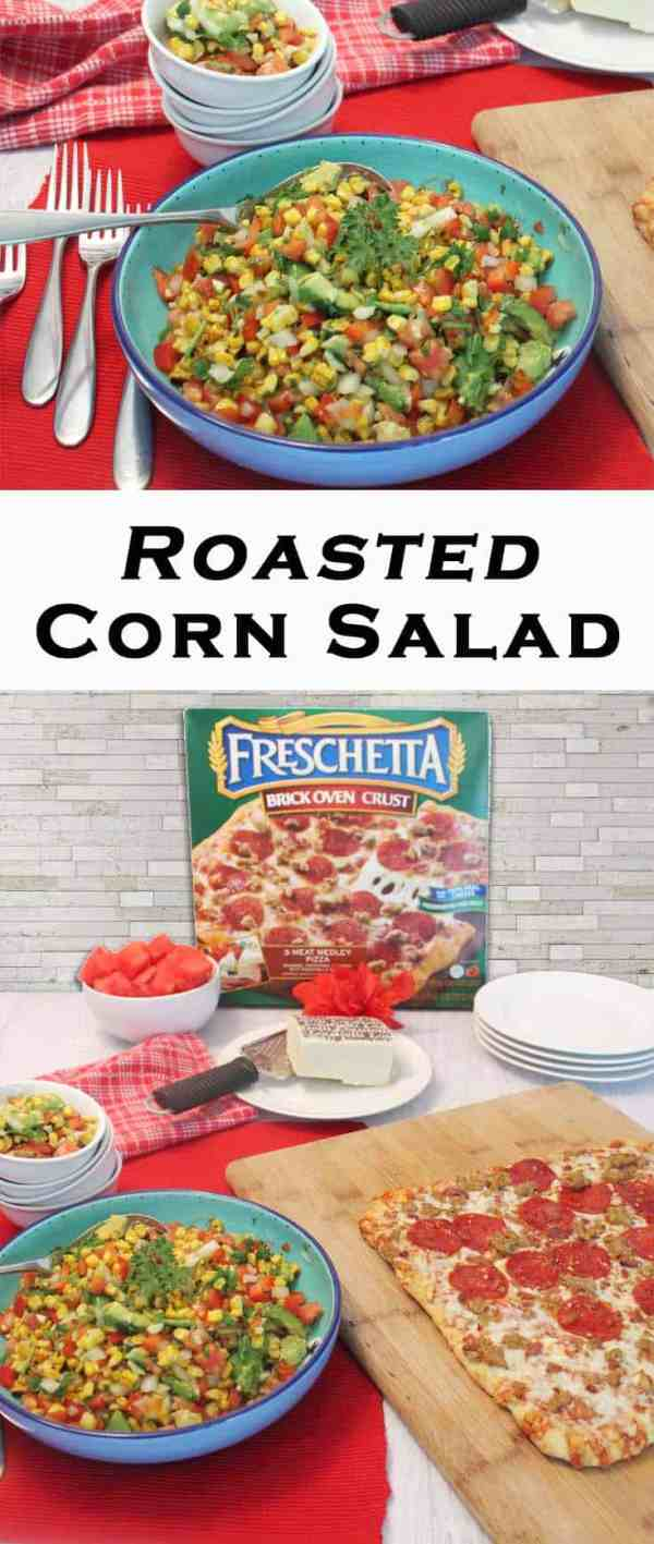 Roasted Corn Salad pin | 2 Cookin Mamas Fresh, healthy & delicious, this roasted corn salad is a tasty addition to any meal. #recipe #salad #healthy #ad #FreschEats #CollectiveBias