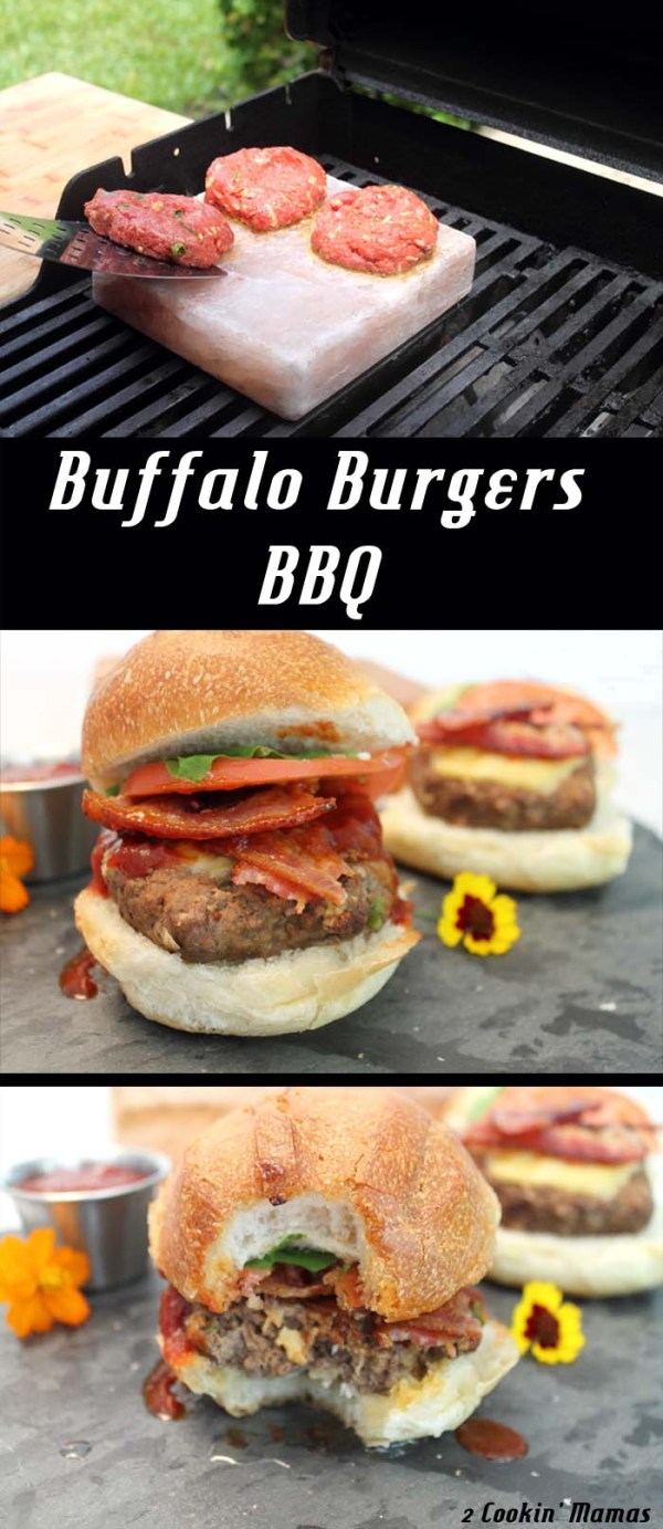 Buffalo Burgers w Jalapeno Bacon | 2 Cookin Mamas Change out your regular burger for a tasty & lean buffalo burger then go one step further & cook it on a salt plate! Amazing! #recipe #burgers #bbq