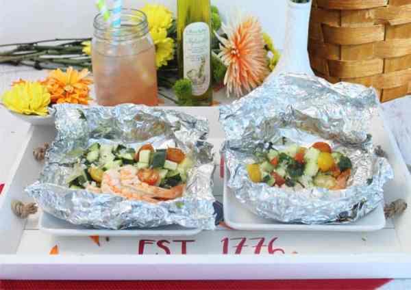 Grilled Shrimp Foil Packets served | 2 Cookin Mamas