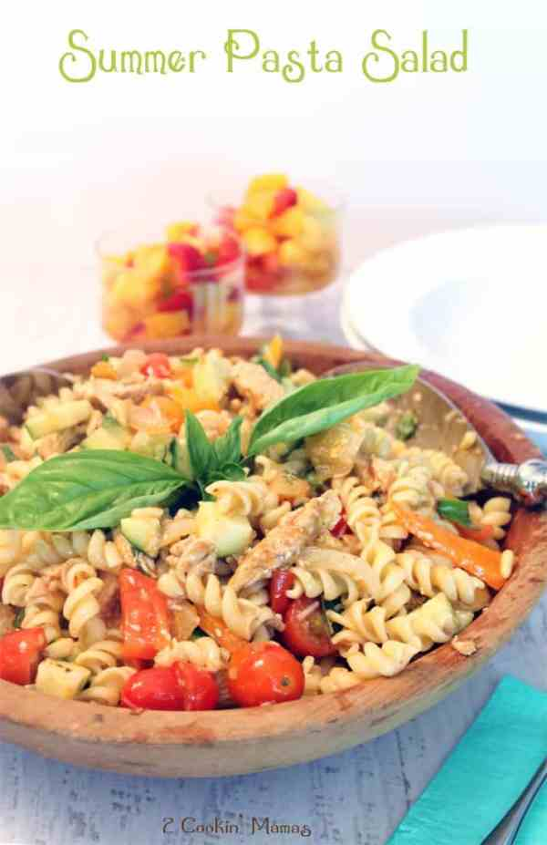 Summer Pasta Salad | 2 Cookin Mamas This salad will keep you cool & healthy. Plenty of fresh veggies, lean protein and whole grain pasta. Perfect for summer! #recipe