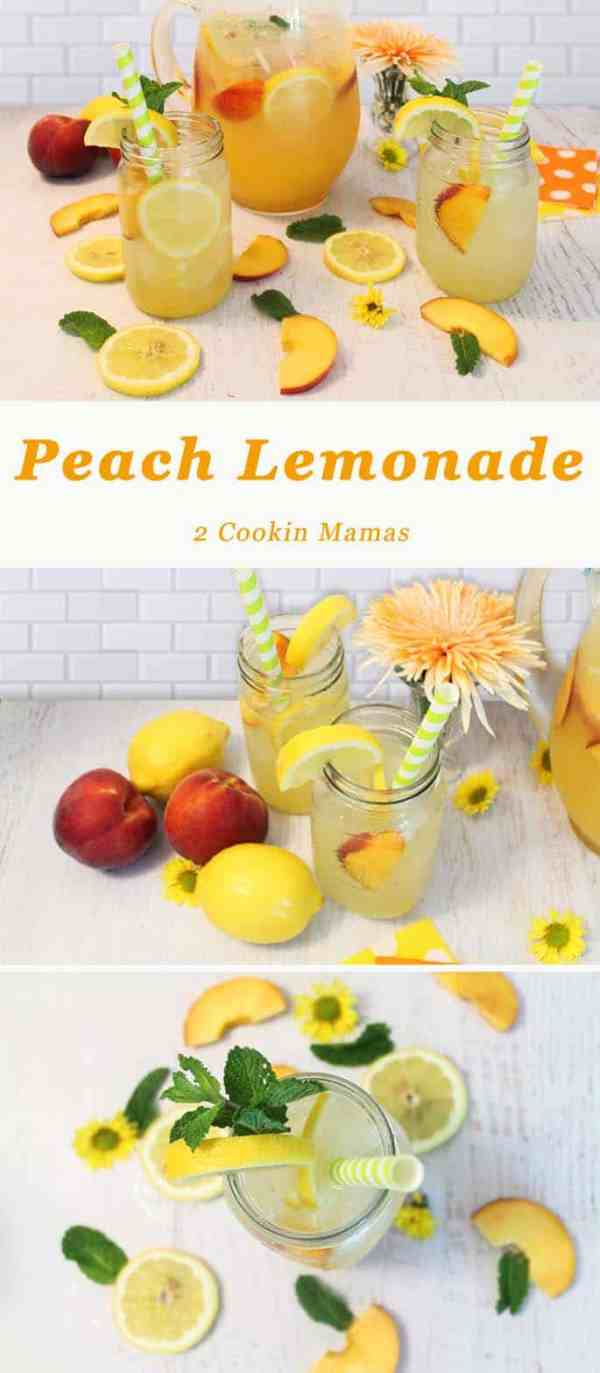 Peach Lemonade | 2 Cookin Mamas Fresh & fruity, this refreshing lemonade is all you need to beat the summertime heat. #recipe