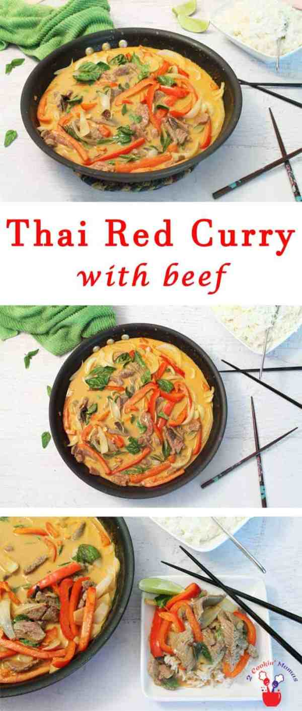 Thai Red Curry with beef | 2 Cookin Mamas Thai flavors at their best! A quick skillet dinner with fresh vegetables, tender beef and that delicious coconut & curry flavor. #recipe