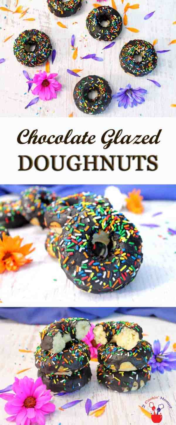 Gluten-free Vanilla Doughnuts with Chocolate Glaze pin 1  2 Cookin Mamas Easy to make baked doughnuts that are moist, flavorful & gluten-free. Glaze with a delicious chocolate glaze & you won't be able to resist licking your fingers. #recipe #glutenfree