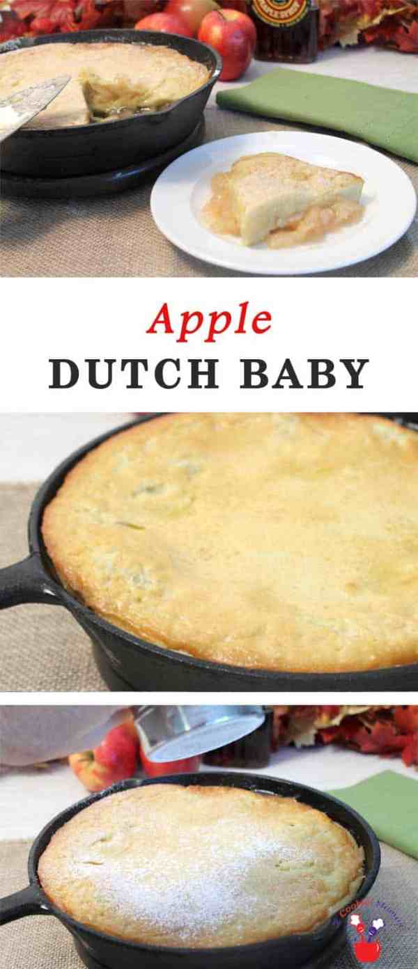 Apple Dutch Baby Pancake | 2 Cookin Mamas Warm up those iron skillets! Easy Apple Dutch Baby Pancake with only a blender, a can of apple pie filling and an iron skillet. A delicious breakfast for brunch or when you're serving a crowd. #recipe #breakfast