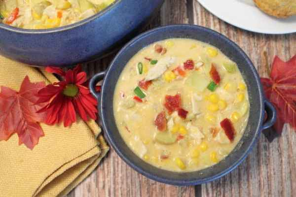 Chicken Corn Chowder bowl | 2 Cookin Mamas