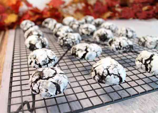 Double Chocolate Crinkle Cookies cooling | 2 Cookin Mamas