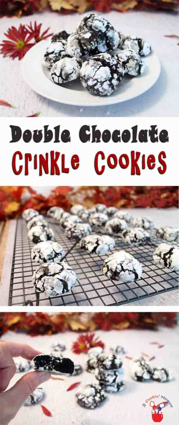 Double Chocolate Crinkle Cookies | 2 Cookin Mamas Rich chocolaty cookies filled with chocolate chips & a surprise ingredient. #recipe
