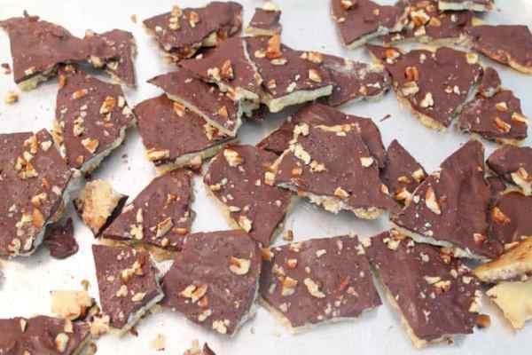 Easy Chocolate Toffee Crunch broken up | 2 Cookin Mamas