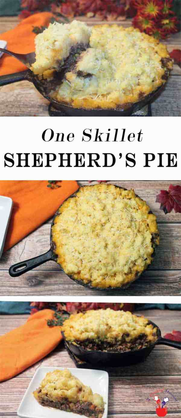 One Skillet Shepherds Pie | 2 Cookin Mamas One Skillet Shepherds Pie is not only quick & easy to prepare but quick & easy to clean up too! An all in one dinner complete with vegetables, meat and potatoes that will fill any & all bellies. #recipe #dinner