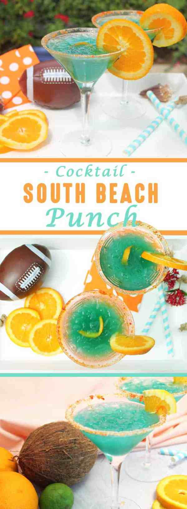 South Beach Punch Cocktail | 2 Cookin Mamas Get a taste of the tropics with our South Beach Punch. An effervescent cocktail with coconut rum, curacao and a sparkling orange juice.
