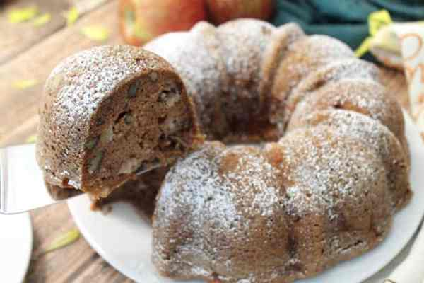 One Bowl Apple Cake cut | 2 Cookin Mamas
