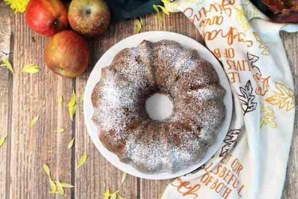 One Bowl Apple Cake overhead | 2 Cookin Mamas