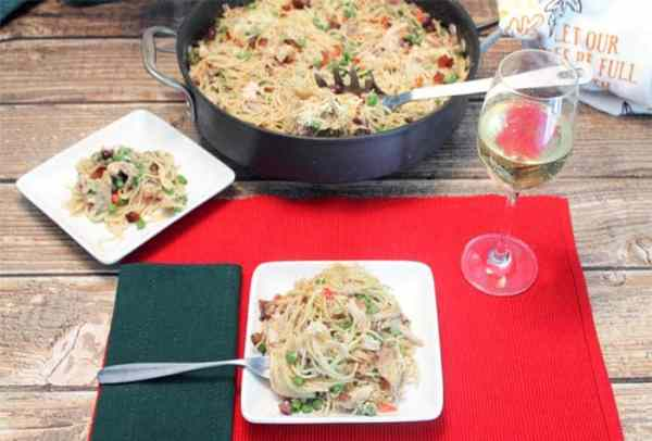 Turkey Pasta Skillet in Cranberry Cream Sauce dinner | 2 Cookin Mamas #shop #thetalkofthetable